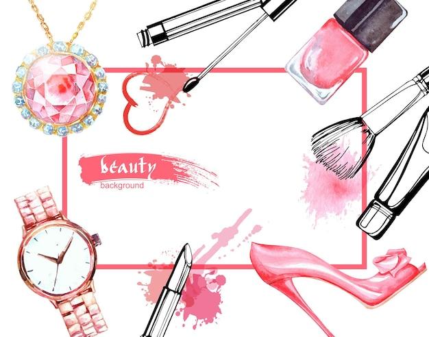 Aquarell schönheit und kosmetik hintergrund. make-up-künstlerobjekte: schmuck, damenuhren, schuhe, nagellack. vektorschönheitshintergrund.