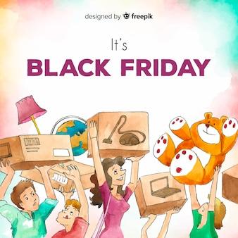 Aquarell-schwarzer freitag-verkaufshintergrund mit dem einkauf der glücklichen menschen