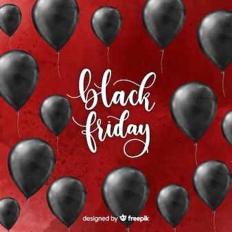 Aquarell-schwarzer freitag-verkaufshintergrund mit schwarzen ballonen