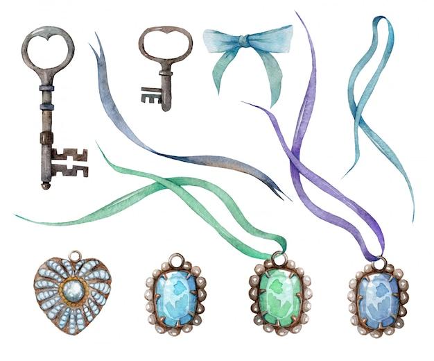 Aquarell set anhänger mit steinen und perlen. vintage schlüssel und bänder.