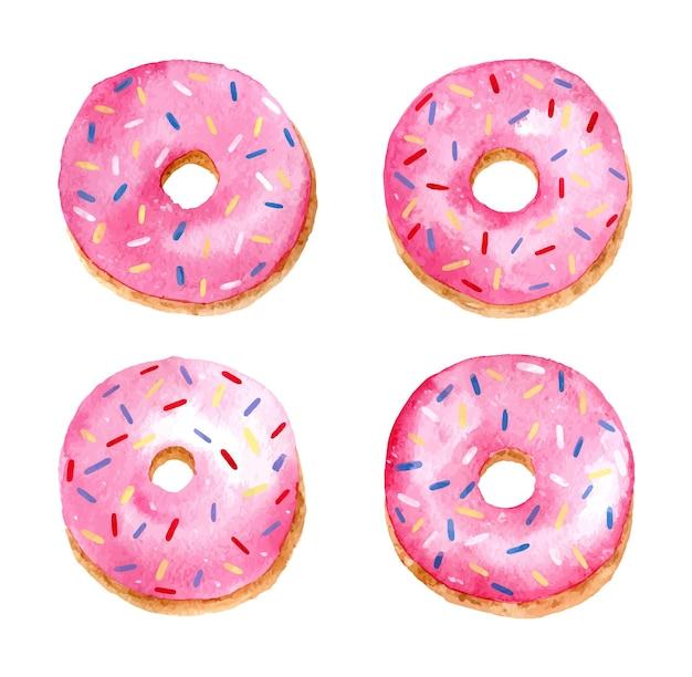 Aquarell-set appetitlicher rosa donuts mit bunten streuseln. süße desserts mit fruchtglasur.