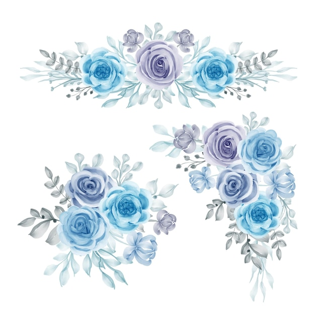 Aquarell-set blumenarrangement blau