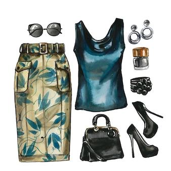 Aquarell set glamour kleidung, schuhe und tasche für frauen. elegante outfit-illustration. hand gezeichnetes gemälde der stoffsammlung. kleiderschrank moodboard