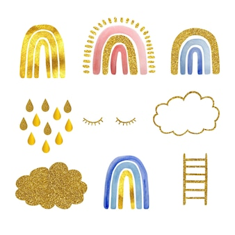 Aquarell-set handgemalte süße regenbögen mit gold, goldenen wolken, wimpern und treppen. die abbildung ist auf einem weißen hintergrund isoliert. entwicklung von logos, kindertextilien, drucken.