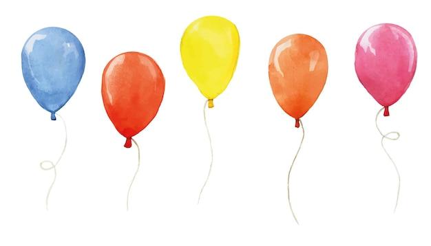 Aquarell-set mit farbigen luftballons auf weißem hintergrund