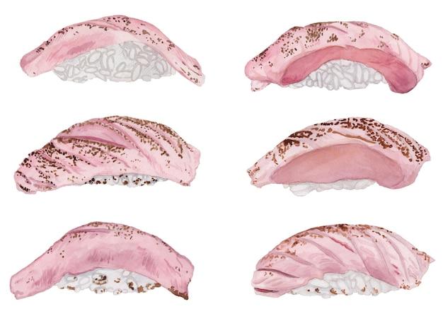 Aquarell-set von gegrilltem thunfisch-sushi