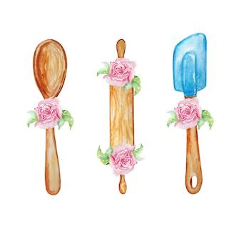 Aquarell-set von kochartikeln für die küche zum backen von nudelholz, löffeln und blumen