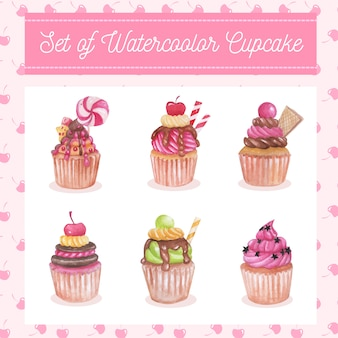 Aquarell set von süßen cupcake