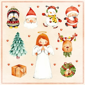 Aquarell-set von weihnachtselementen
