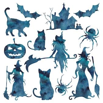 Aquarell-silhouette mit halloween-symbol der blauen galaxie lokalisiert auf dem weißen hintergrund