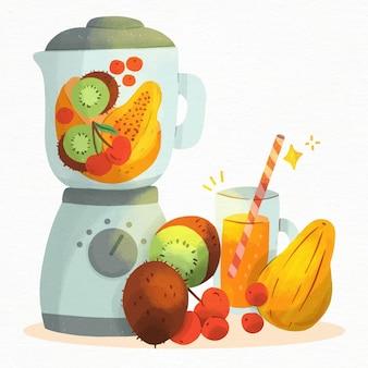Aquarell-smoothie im mixerglas