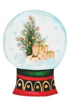 Aquarell snow globe mit weihnachten und neujahreselementen