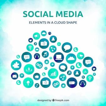Aquarell-social-media-elemente in einer wolkenform
