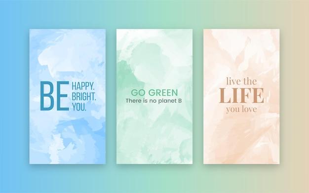 Aquarell social-media-geschichten-banner-hintergrund mit inspirierenden kurzen zitaten