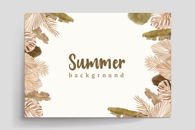 Aquarell sommer blumen und blätter karte