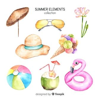 Aquarell-sommer-element-sammlung