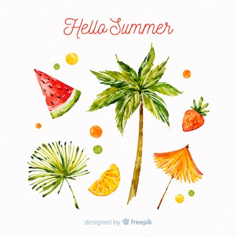Aquarell-sommer-element-sammlung
