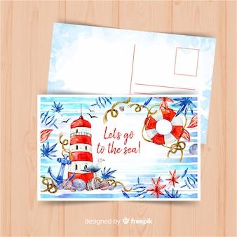Aquarell-sommerferien-postkarte