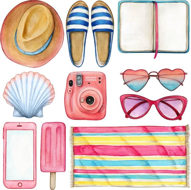 Aquarell-sommerobjektillustrationssatz rosa und blau