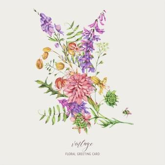 Aquarell sommerwiesenblumen, wildblumen. botanische blumengrußkarte. sammlung medizinischer blumen