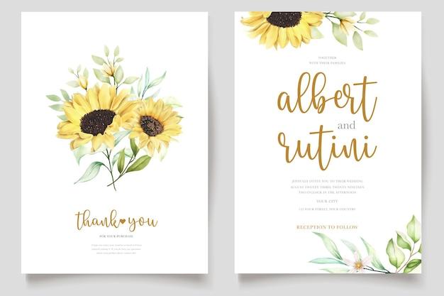 Aquarell sonnenblume einladungskarte Premium Vektoren