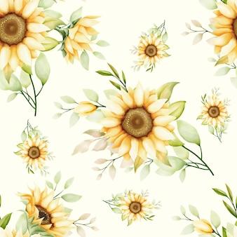 Aquarell sonnenblume nahtlose muster