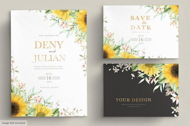 Aquarell-sonnenblumen-einladungskartenset