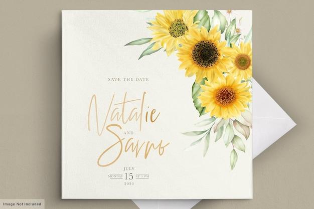 Aquarell-sonnenblumen-einladungskartenset Kostenlosen Vektoren