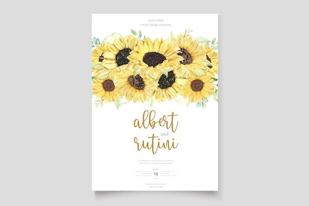 Aquarell sonnenblumen hochzeitseinladungskartenset