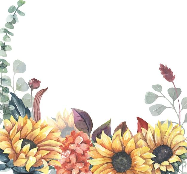 Aquarell sonnenblumenrahmen.