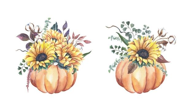 Aquarell-sonnenblumensträuße mit kürbissen.