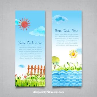 Aquarell sonnige landschaft banner