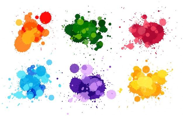 Aquarell spritzt in sechs farben