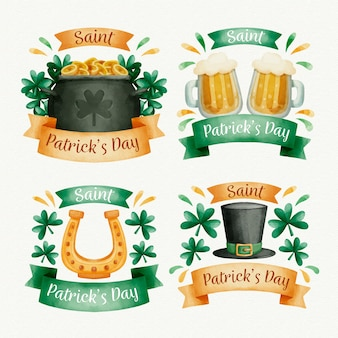 Aquarell st. patrick's day label collection mit traditionellen gegenständen