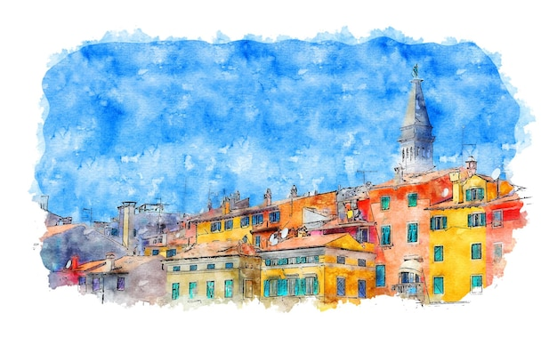 Aquarell stadtraum stadtraum druck stadt aquarell skizze handgezeichnete illustration
