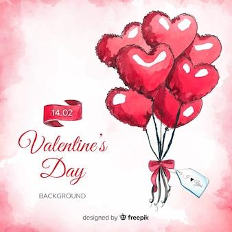 Aquarell steigt valentinstaghintergrund auf