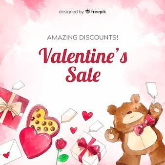 Aquarell stellt valentinsgrußverkaufshintergrund dar