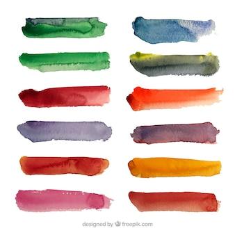 Aquarell streicht sammlung mit vielen farben