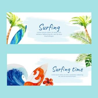 Aquarell surf-banner mit palmblättern und wohnwagen