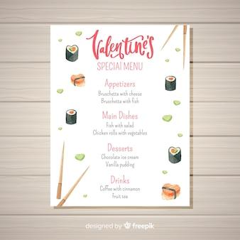 Aquarell sushi valentinstag menüvorlage
