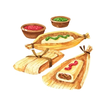 Aquarell tamales illustration