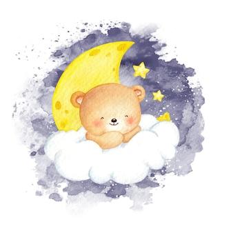 Aquarell-teddybär, der auf der wolke sitzt