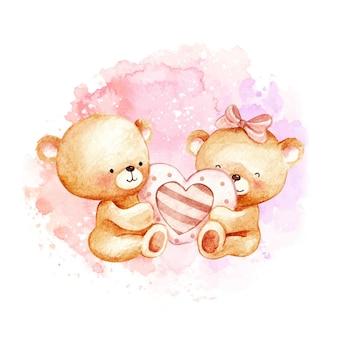 Aquarell teddybären verliebt
