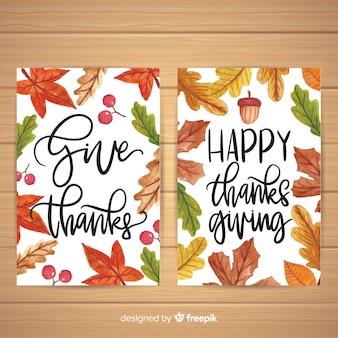 Aquarell thanksgiving day kartensammlung