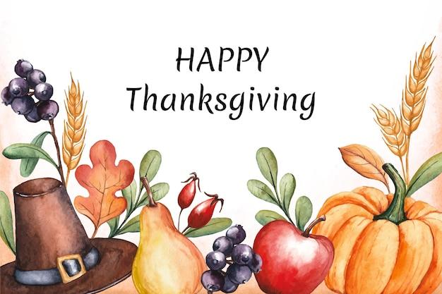 Aquarell thanksgiving hintergrund mit ernten