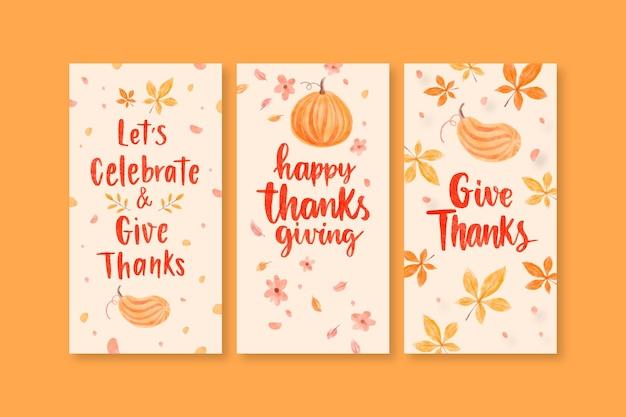 Aquarell thanksgiving instagram geschichtensammlung
