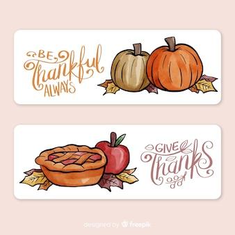 Aquarell thanksgiving tag banner-set