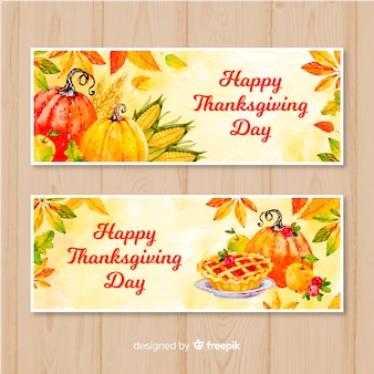 Aquarell thanksgiving tag banner-set