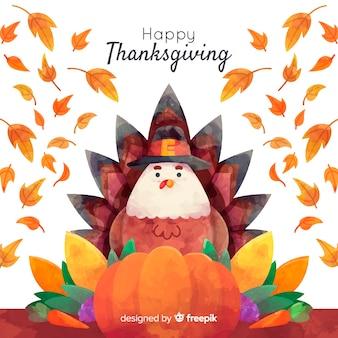 Aquarell thanksgiving tisch hintergrund