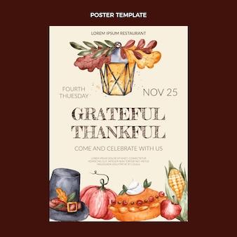 Aquarell thanksgiving vertikale plakatvorlage